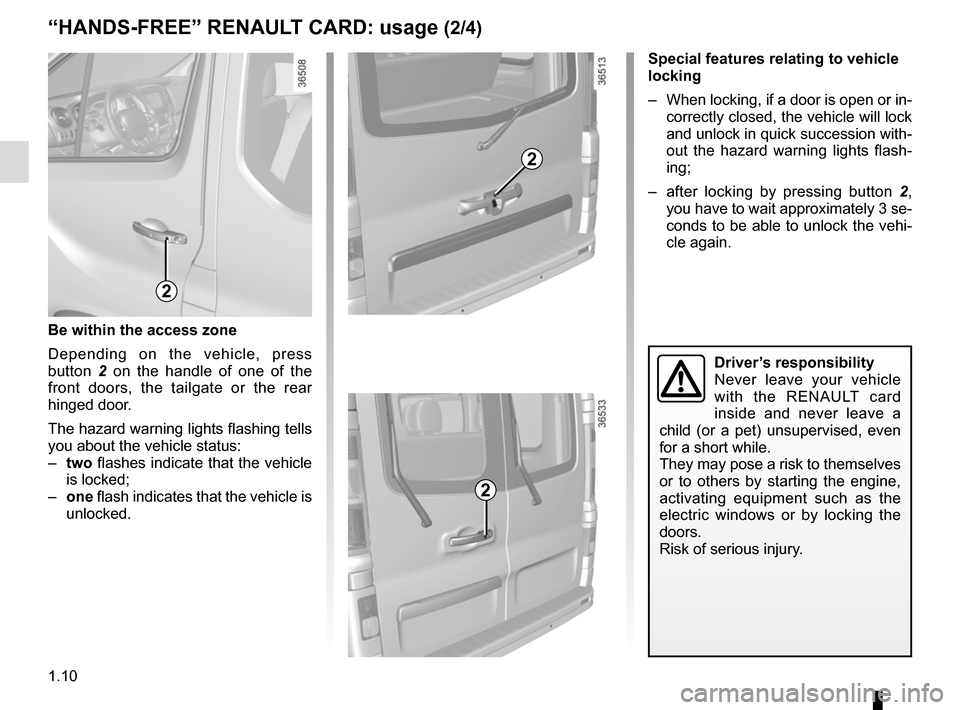 RENAULT TRAFIC 2015 X82 / 3.G Owners Manual, Page 16
