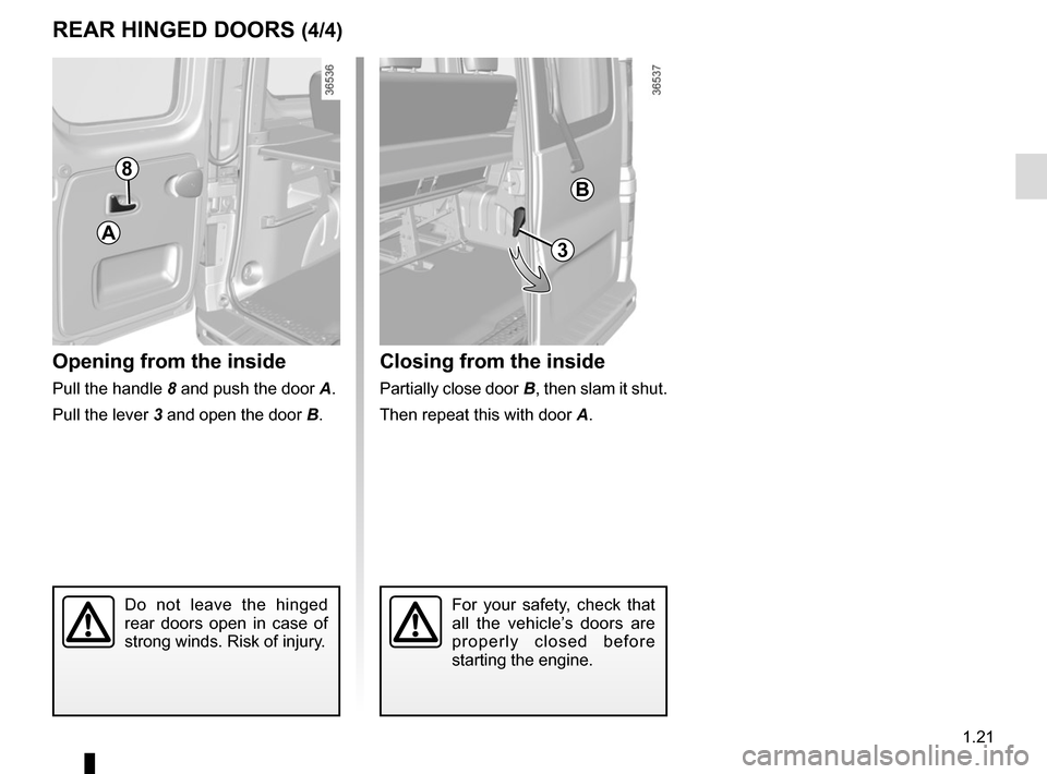 RENAULT TRAFIC 2015 X82 / 3.G Owners Manual, Page 27