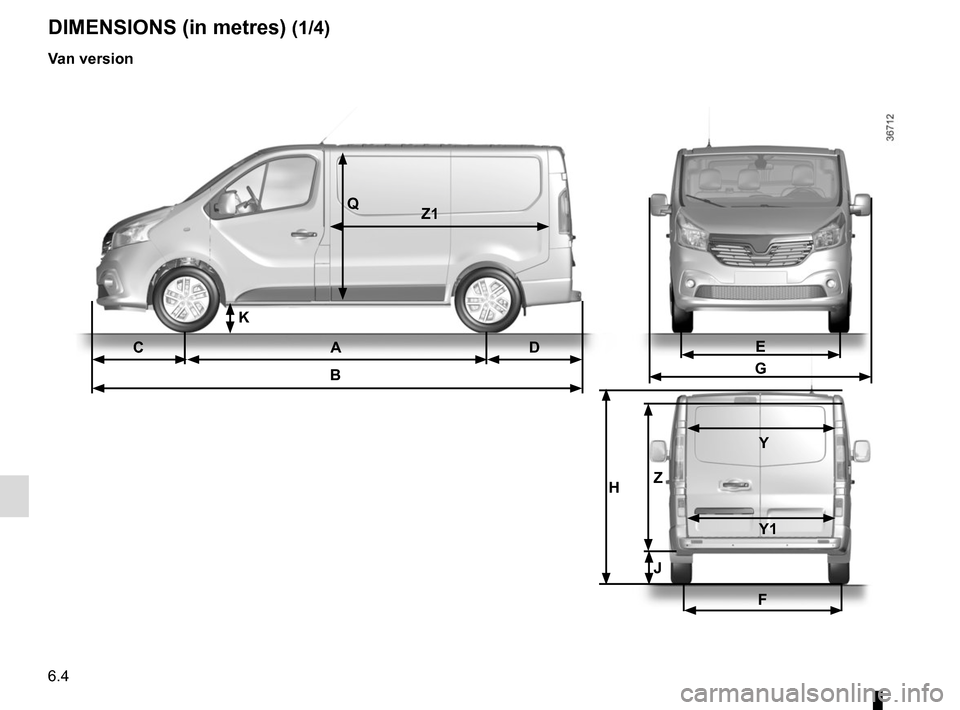 RENAULT TRAFIC 2015 X82 / 3.G Owners Manual 6.4 CA DB DIMENSIONS (in metres) (1/4) Van version QZ1 E G F H Z  Y    Y1 J K