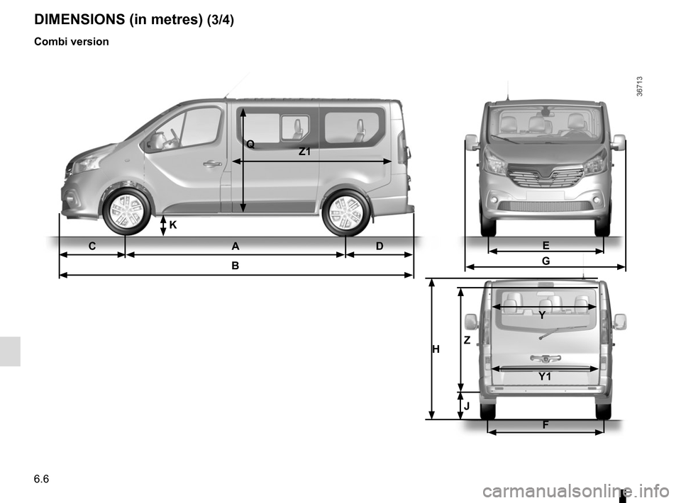 RENAULT TRAFIC 2015 X82 / 3.G Owners Manual 6.6 DIMENSIONS (in metres) (3/4) Combi version CA DB QZ1 E G F H Z  Y    Y1 J K