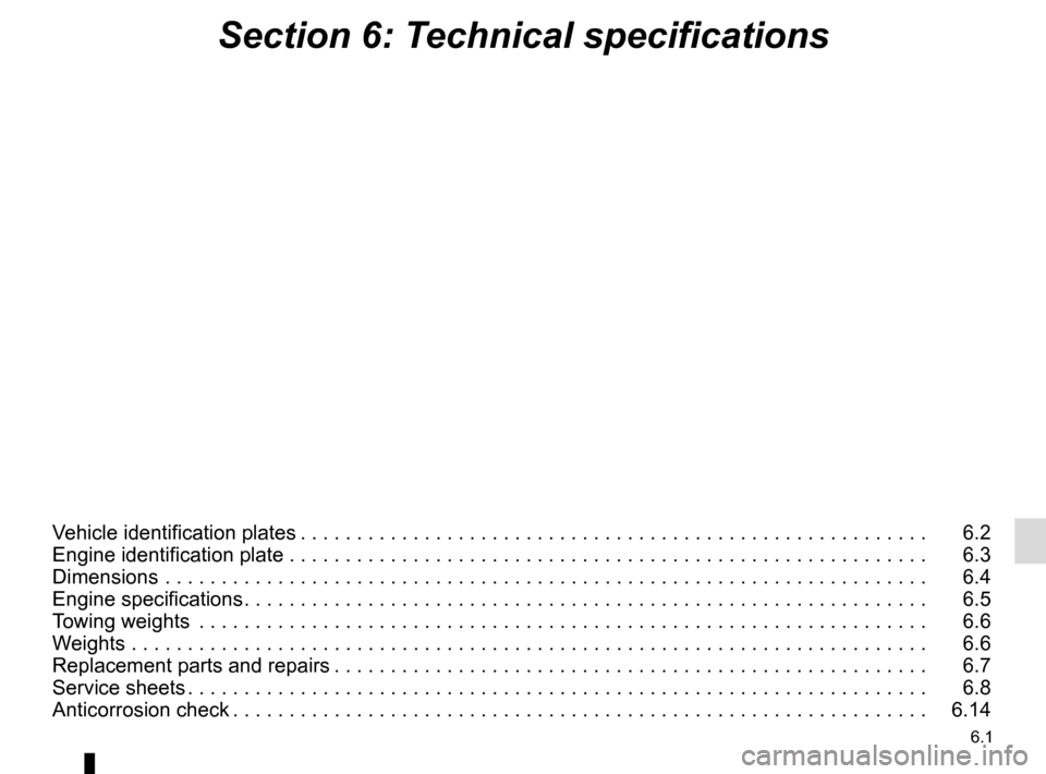 RENAULT TWINGO 2015 3.G Owners Manual 6.1 Section 6: Technical specifications Vehicle identification plates . . . . . . . . . . . . . . . . . . . . . . . . . . . . . . . . . . . . 