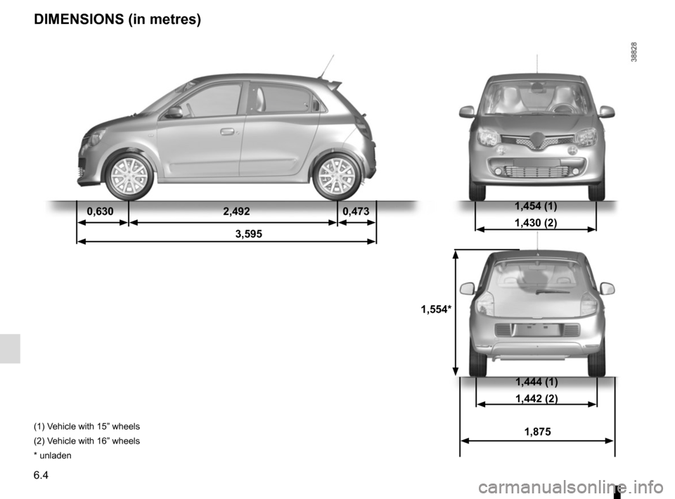 "RENAULT TWINGO 2015 3.G Owners Manual 6.4 1,554* 1,454 (1) 1,430 (2)0,6302,4920,473 3,595 DIMENSIONS (in metres) 1,444 (1) 1,442 (2) 1,875(1) Vehicle with 15"" wheels (2) Vehicle with 16"" wheels * unladen"