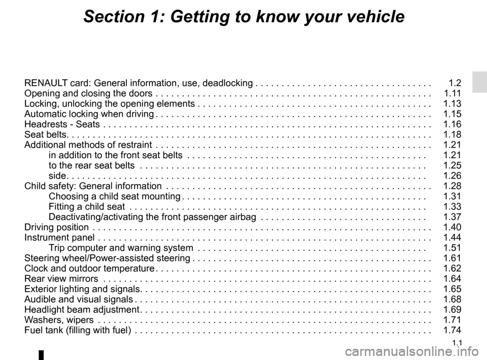 RENAULT CAPTUR 2016 1.G Owners Manual 1.1 Section 1: Getting to know your vehicle RENAULT card: General information, use, deadlocking . . . . . . . . . . . . . . . . . . . . . . . . . . . . . . . . . .   1.2 Opening and closing the doors