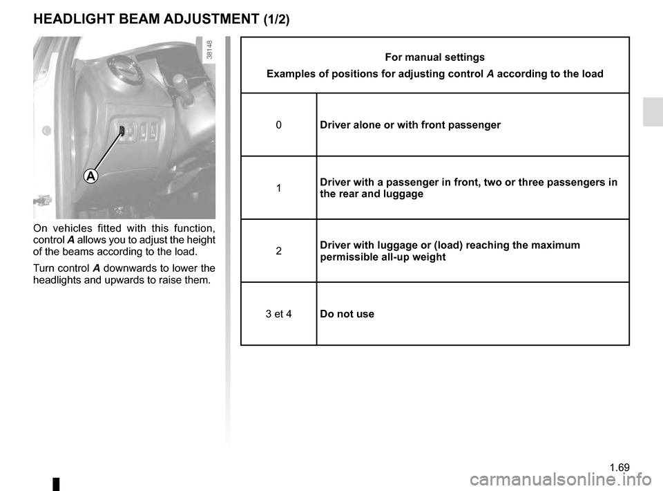 RENAULT CAPTUR 2016 1.G Manual PDF 1.69 HEADLIGHT BEAM ADJUSTMENT (1/2) On vehicles fitted with this function,  control A allows you to adjust the height  of the beams according to the load. Turn control A downwards to lower the  headl