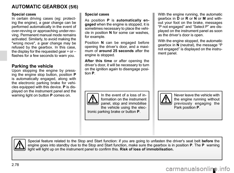 RENAULT ESPACE 2016 5.G Owners Manual, Page 186