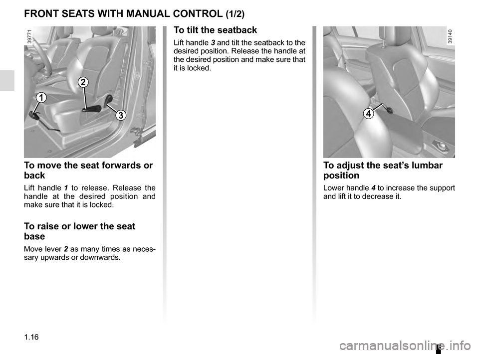 RENAULT ESPACE 2016 5.G Owners Manual, Page 22