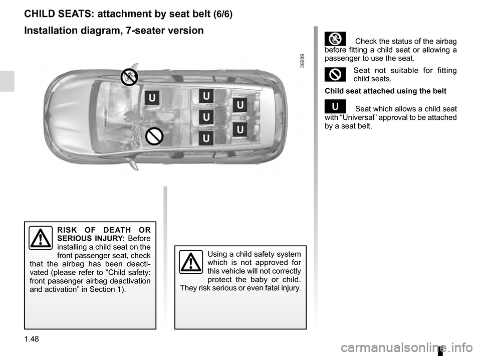 RENAULT ESPACE 2016 5.G Owners Manual, Page 54