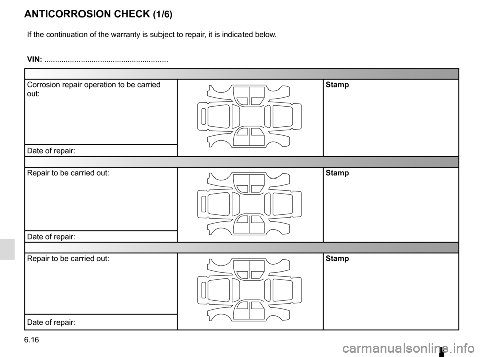 RENAULT GRAND SCENIC 2016 J95 / 3.G Owners Manual 6.16 ANTICORROSION CHECK (1/6) If the continuation of the warranty is subject to repair, it is indicated below. VIN: .......................................................... Corrosion repair operati