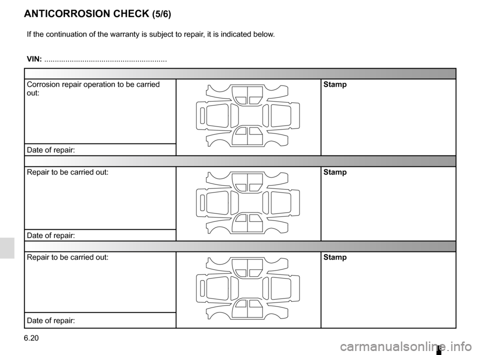 RENAULT GRAND SCENIC 2016 J95 / 3.G Owners Manual 6.20 ANTICORROSION CHECK (5/6) If the continuation of the warranty is subject to repair, it is indicated below. VIN: .......................................................... Corrosion repair operati
