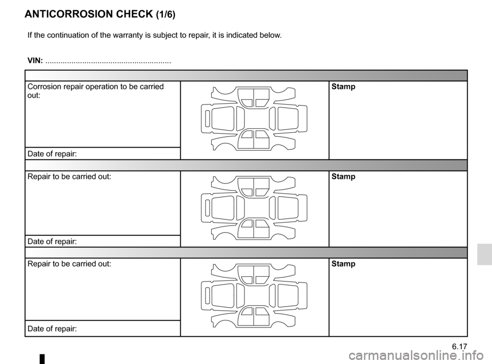 RENAULT MEGANE HATCHBACK 2016 X95 / 3.G Owners Manual anti-corrosion check ............................. (up to the end of the DU) 6.17 ENG_UD10976_1 Contrôle anticorrosion (1/6) (X84 - X85 - X95 - Renault) ENG_NU_837-8_BDK95_Renault_6 Anticorrosion che