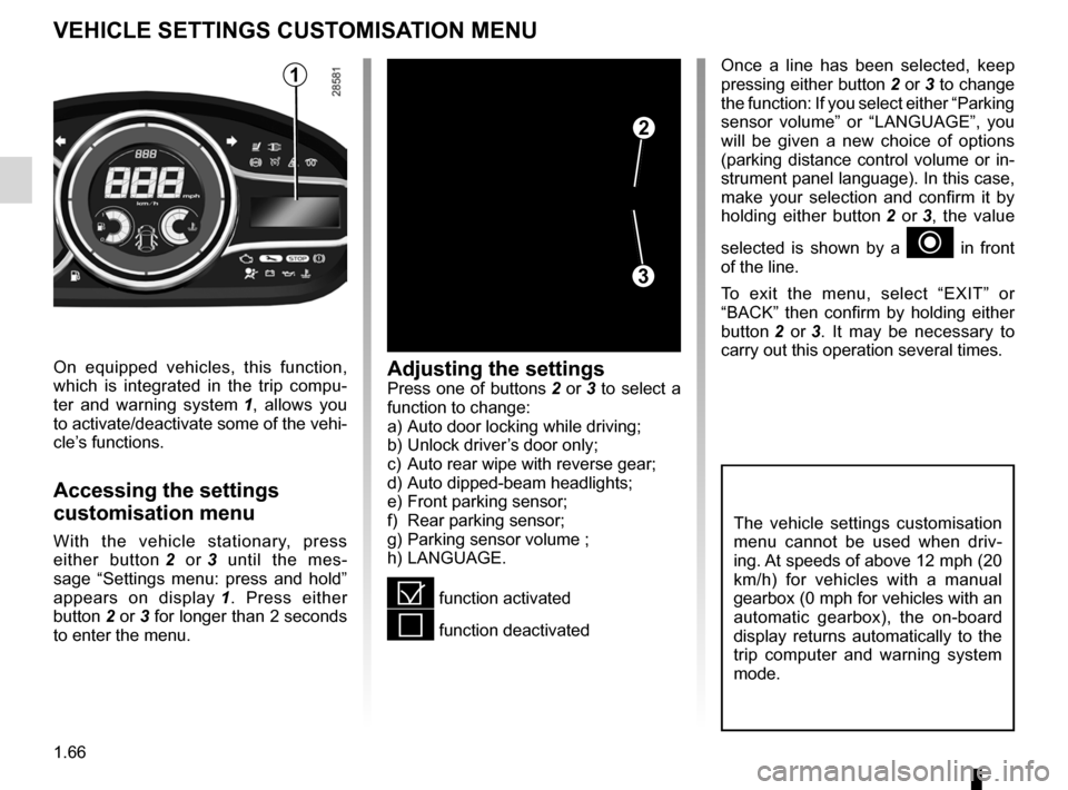RENAULT MEGANE HATCHBACK 2016 X95 / 3.G Manual PDF menu for customising the vehicle settings  (up to the end of the DU) customising the vehicle settings  ........... (up to the end of the DU) customised vehicle settings  .................. (up to the