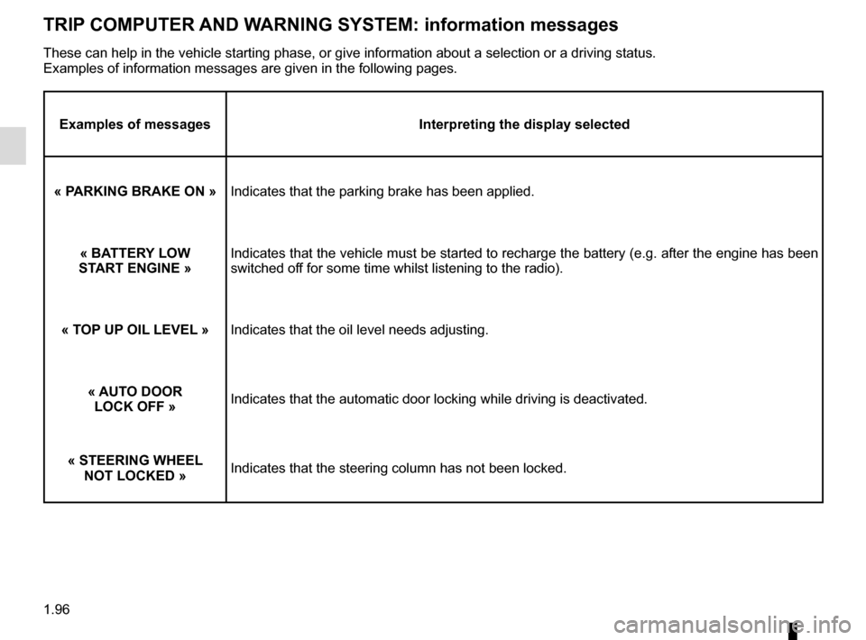 RENAULT TRAFIC 2016 X82 / 3.G Owners Manual 1.96 TRIP COMPUTER AND WARNING SYSTEM: information messages Examples of messagesInterpreting the display selected « PARKING BRAKE ON »   Indicates that the parking brake has been applied. « BATTERY