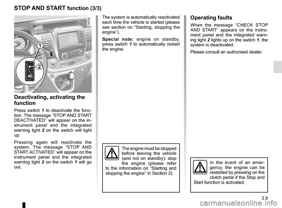 RENAULT TRAFIC 2016 X82 / 3.G Owners Manual, Page 133
