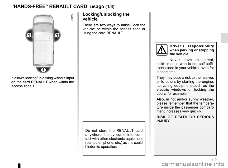RENAULT TRAFIC 2016 X82 / 3.G Owners Manual, Page 15