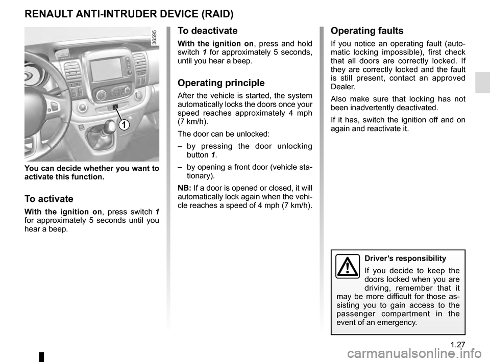 RENAULT TRAFIC 2016 X82 / 3.G Owners Manual, Page 33