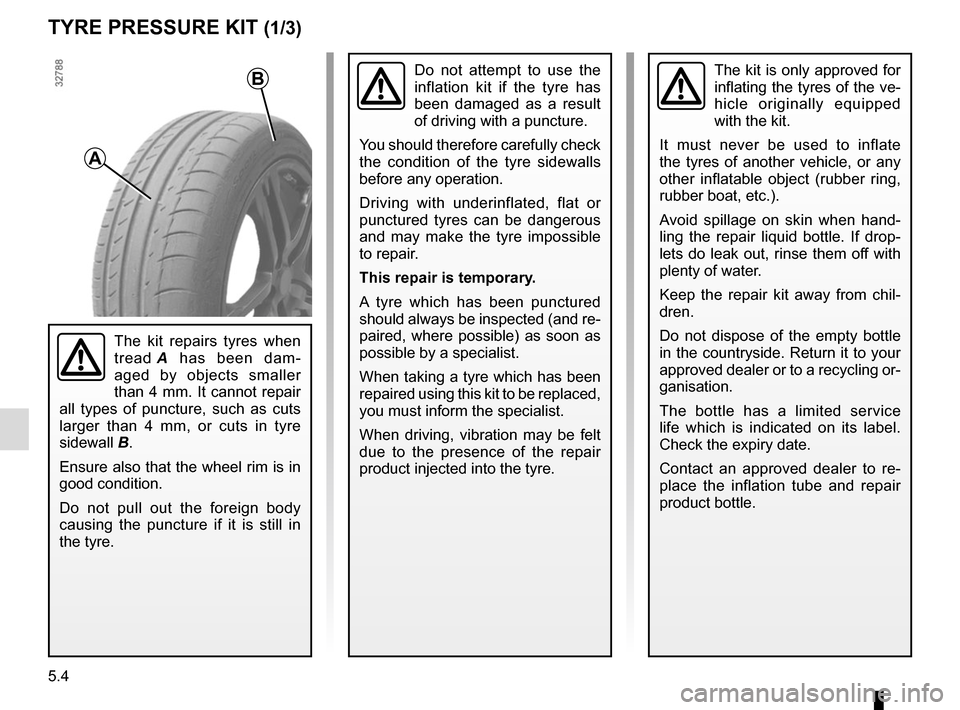 RENAULT CAPTUR 2017 1.G Owners Manual 5.4 TYRE PRESSURE KIT (1/3) The kit is only approved for  inflating the tyres of the ve- hicle originally equipped  with the kit. It must never be used to inflate  the tyres of another vehicle, or any