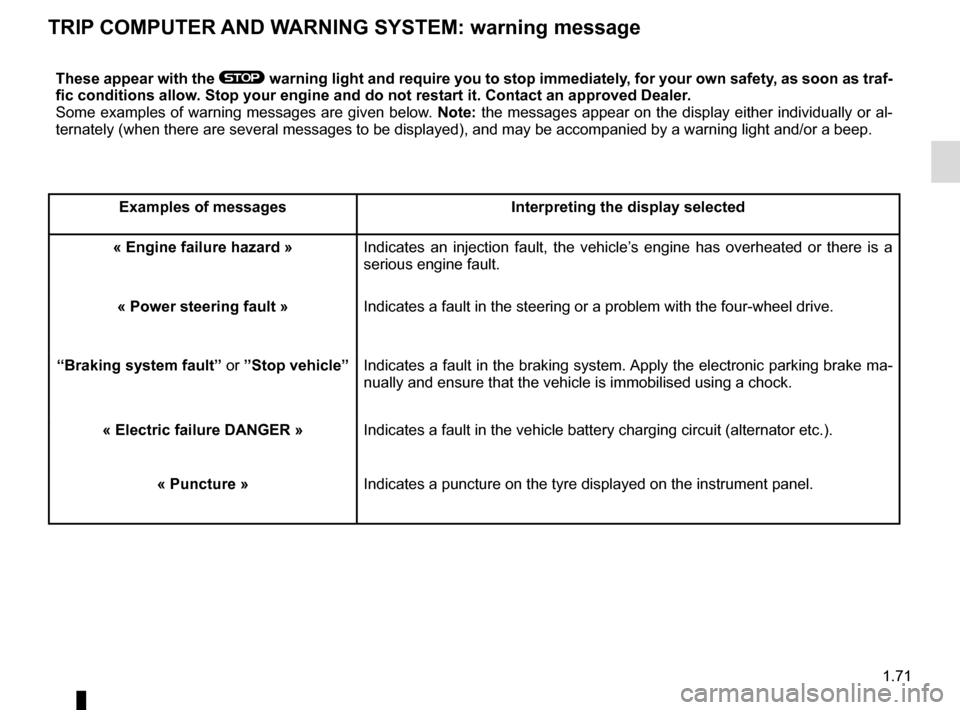 RENAULT KADJAR 2017 1.G Manual PDF 1.71 TRIP COMPUTER AND WARNING SYSTEM: warning message These appear with the ® warning light and require you to stop immediately, for your own safety, as soon as traf- fic conditions allow. Stop your