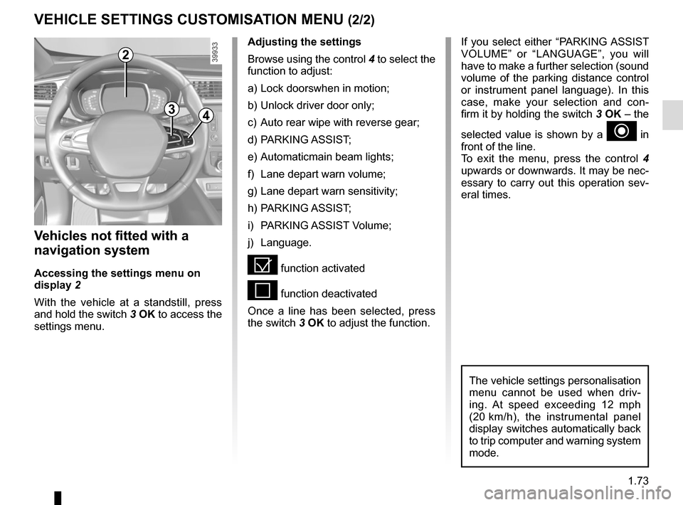 "RENAULT KADJAR 2017 1.G Manual PDF 1.73 VEHICLE SETTINGS CUSTOMISATION MENU (2/2) 34 If you select either ""PARKING ASSIST  VOLUME"" or ""LANGUAGE"", you will  have to make a further selection (sound  volume of the parking distance"