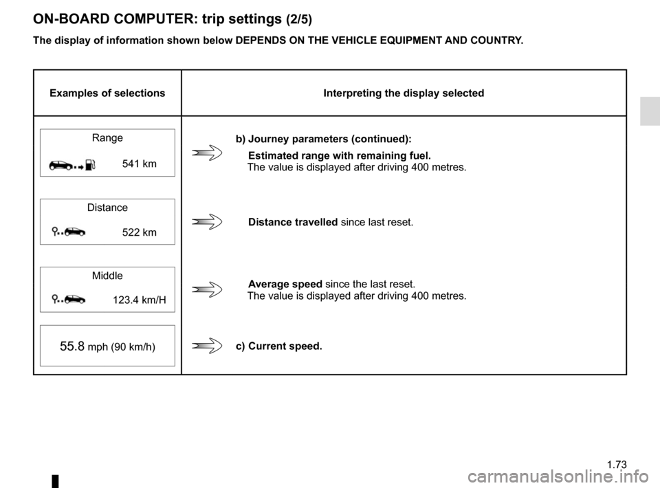 RENAULT MEGANE 2017 4.G Manual PDF 1.73 ON-BOARD COMPUTER: trip settings (2/5) The display of information shown below DEPENDS ON THE VEHICLE EQUIPMENT 