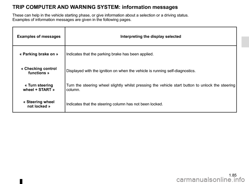 RENAULT SCENIC 2017 J95 / 3.G Owners Manual 1.85 TRIP COMPUTER AND WARNING SYSTEM: information messages Examples of messagesInterpreting the display selected « Parking brake on » Indicates that the parking brake has been applied. « Checking