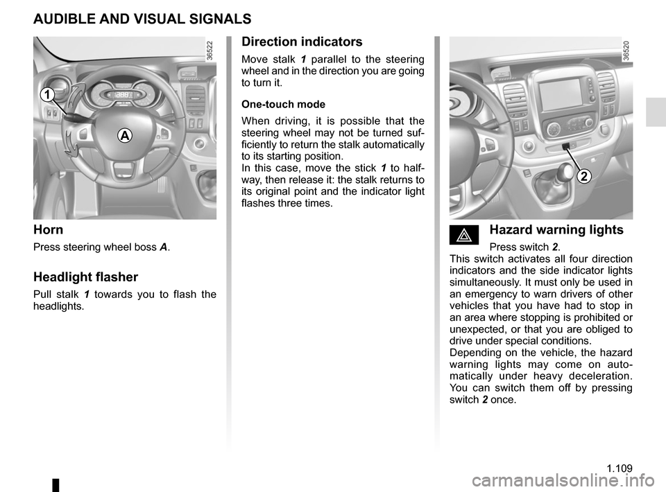 RENAULT TRAFIC 2017 X82 / 3.G Owners Manual, Page 115