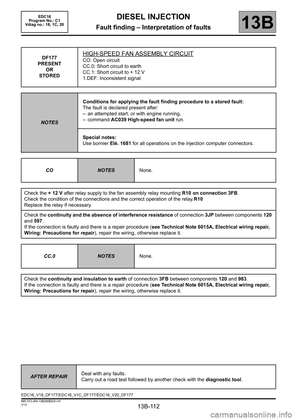 RENAULT SCENIC 2011 J95 / 3.G Engine And Peripherals EDC16 Workshop Manual, Page 112