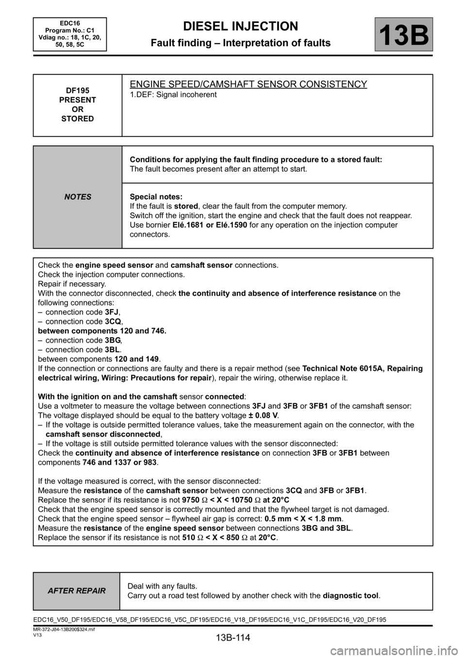 RENAULT SCENIC 2011 J95 / 3.G Engine And Peripherals EDC16 Workshop Manual, Page 114