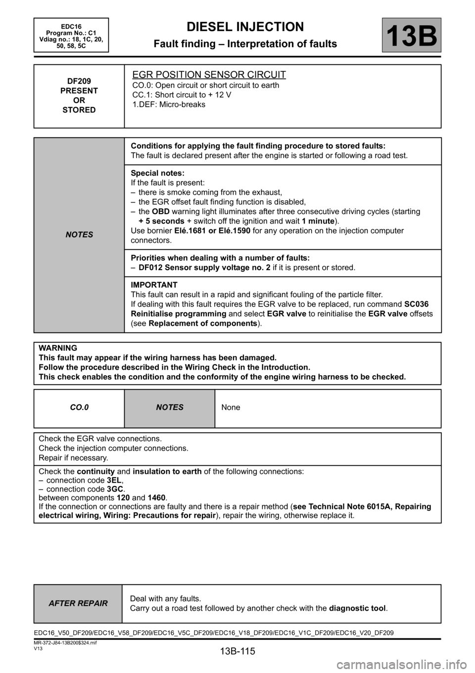 RENAULT SCENIC 2011 J95 / 3.G Engine And Peripherals EDC16 Workshop Manual, Page 115