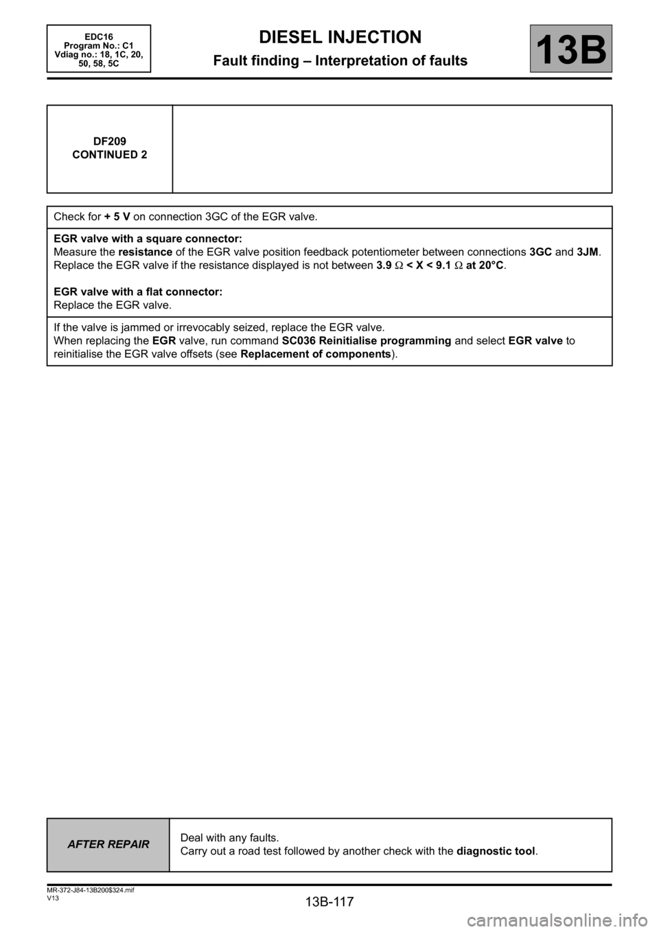RENAULT SCENIC 2011 J95 / 3.G Engine And Peripherals EDC16 Workshop Manual, Page 117
