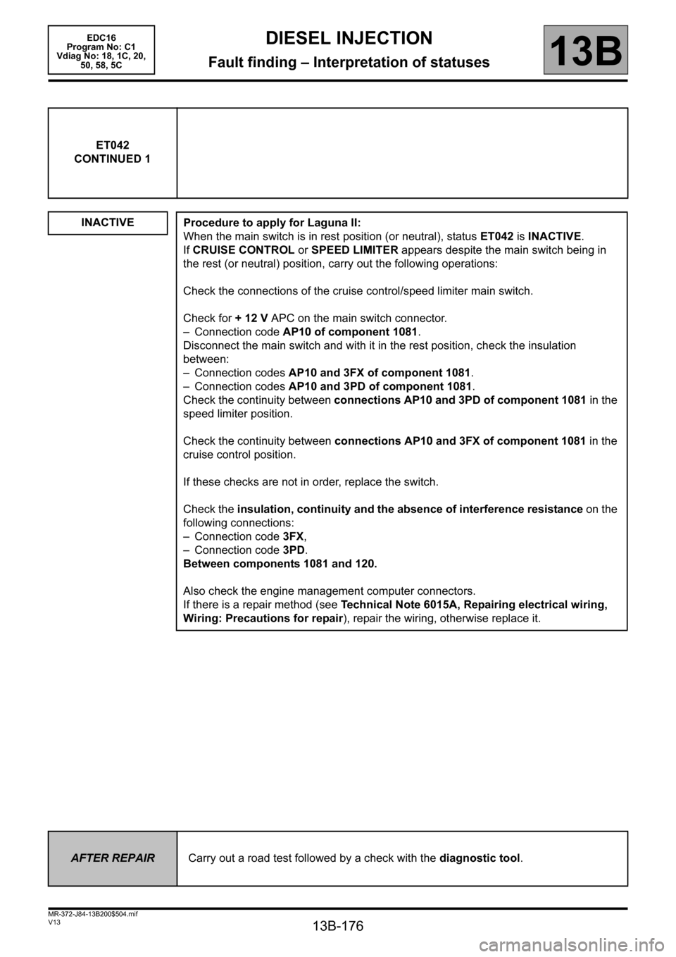RENAULT SCENIC 2011 J95 / 3.G Engine And Peripherals EDC16 Workshop Manual, Page 176