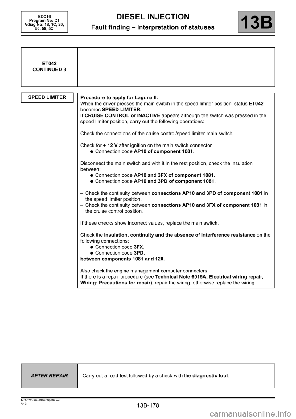 RENAULT SCENIC 2011 J95 / 3.G Engine And Peripherals EDC16 Workshop Manual, Page 178