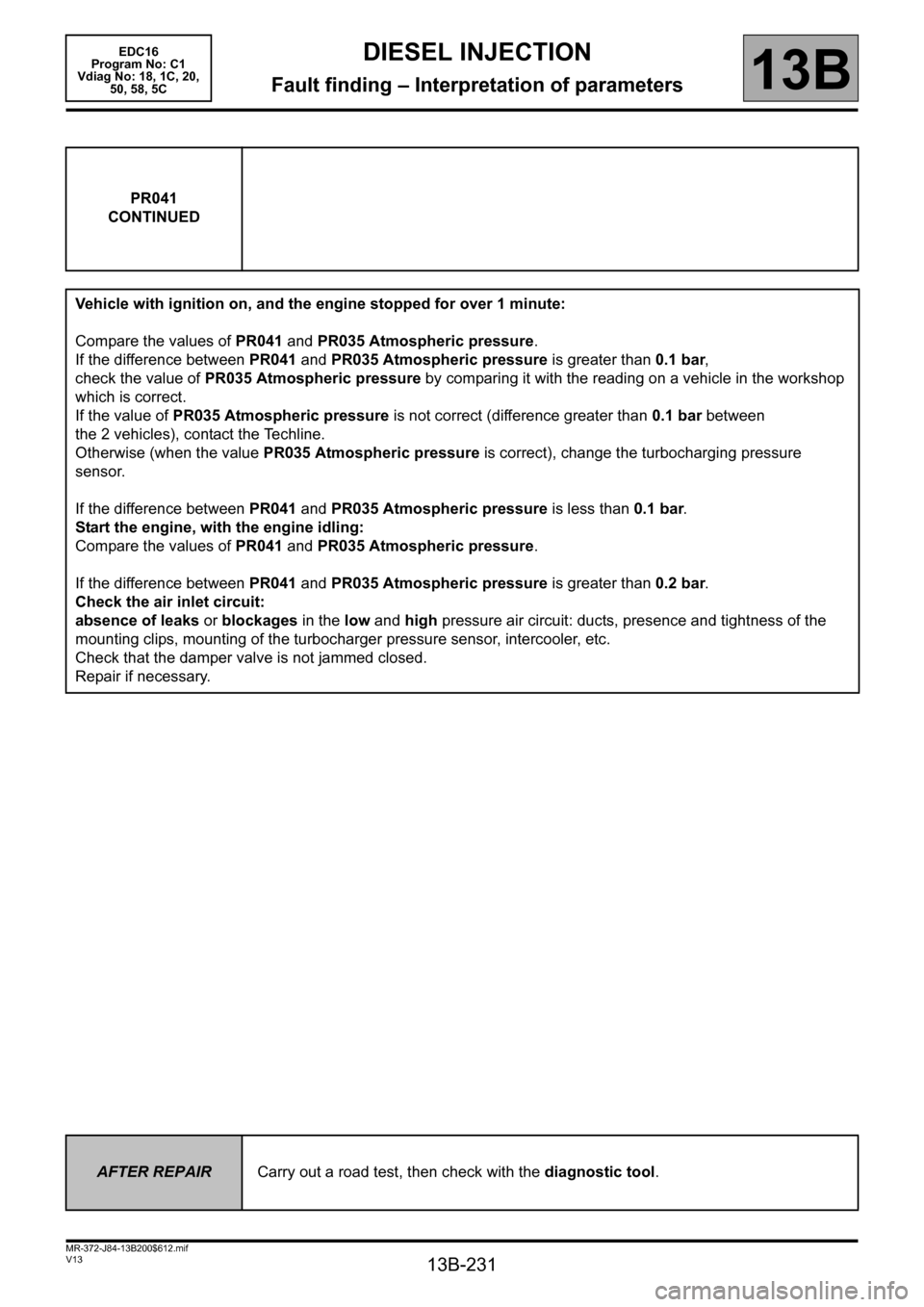 RENAULT SCENIC 2011 J95 / 3.G Engine And Peripherals EDC16 Workshop Manual, Page 231