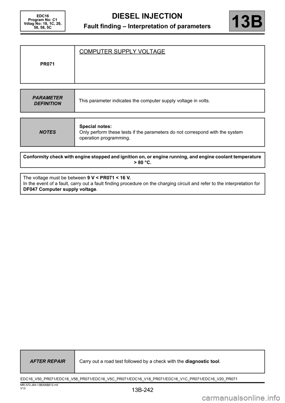 RENAULT SCENIC 2011 J95 / 3.G Engine And Peripherals EDC16 Workshop Manual, Page 242