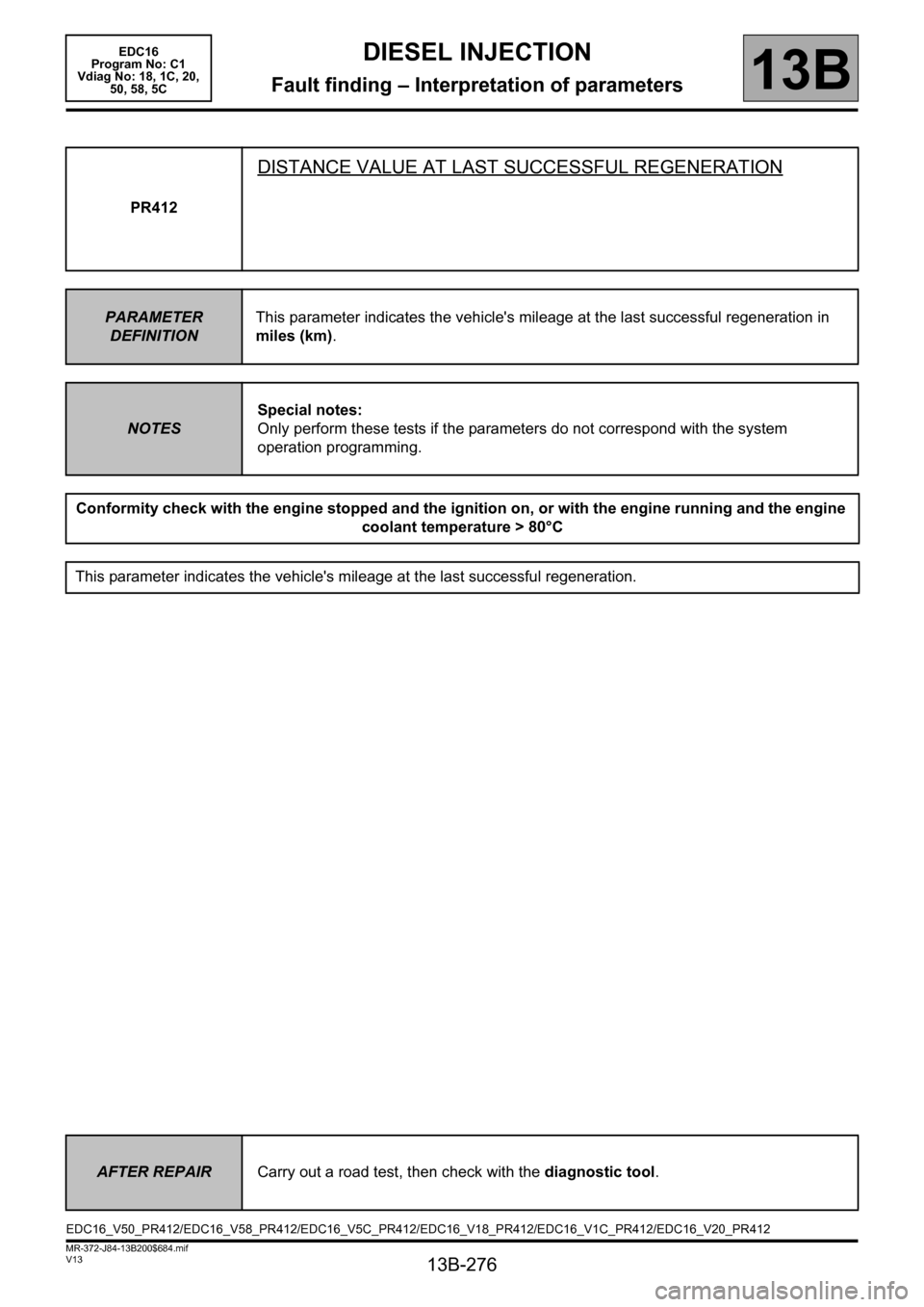 RENAULT SCENIC 2011 J95 / 3.G Engine And Peripherals EDC16 Workshop Manual, Page 276