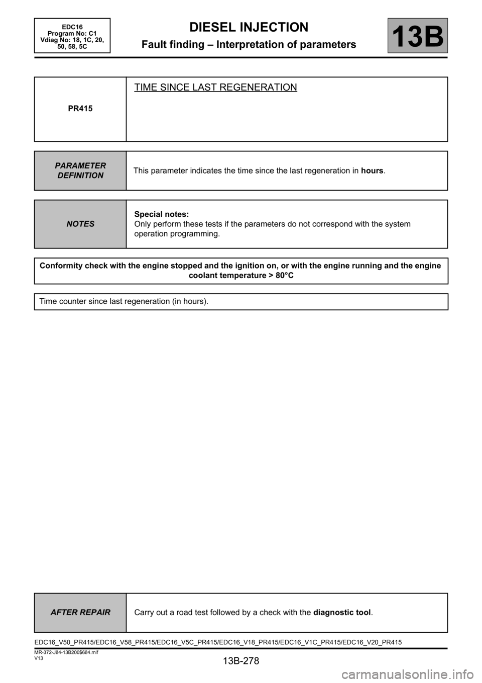 RENAULT SCENIC 2011 J95 / 3.G Engine And Peripherals EDC16 Workshop Manual, Page 278