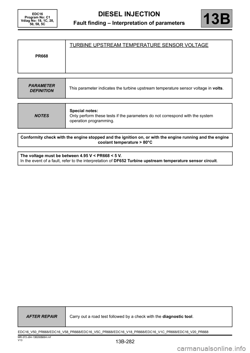 RENAULT SCENIC 2011 J95 / 3.G Engine And Peripherals EDC16 Workshop Manual, Page 282