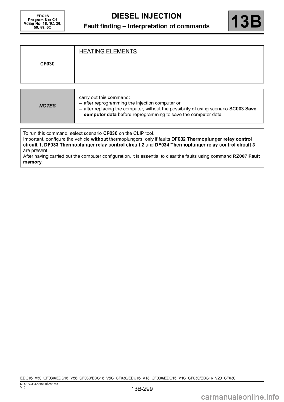 RENAULT SCENIC 2011 J95 / 3.G Engine And Peripherals EDC16 Workshop Manual, Page 299