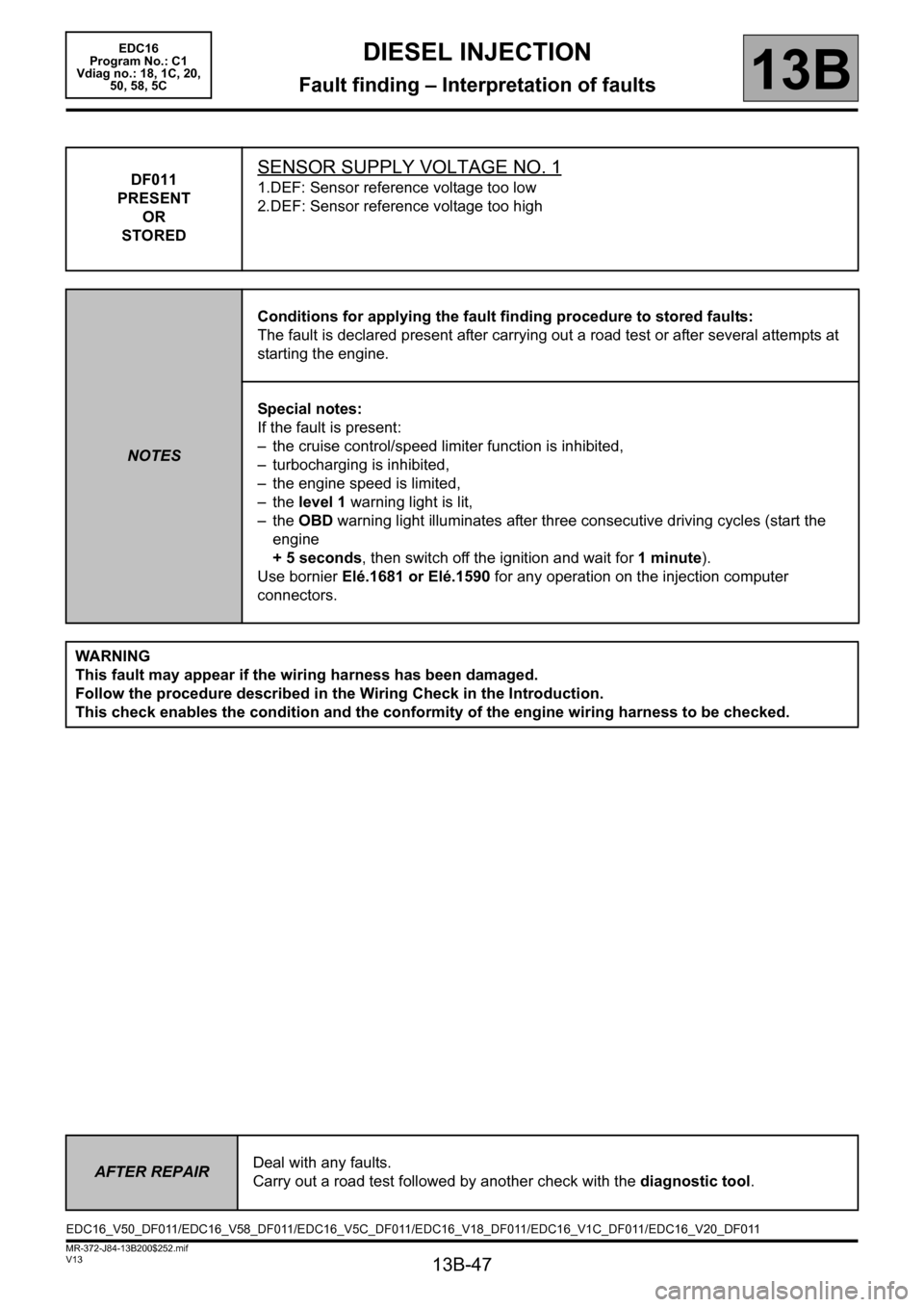 RENAULT SCENIC 2011 J95 / 3.G Engine And Peripherals EDC16 Workshop Manual, Page 47