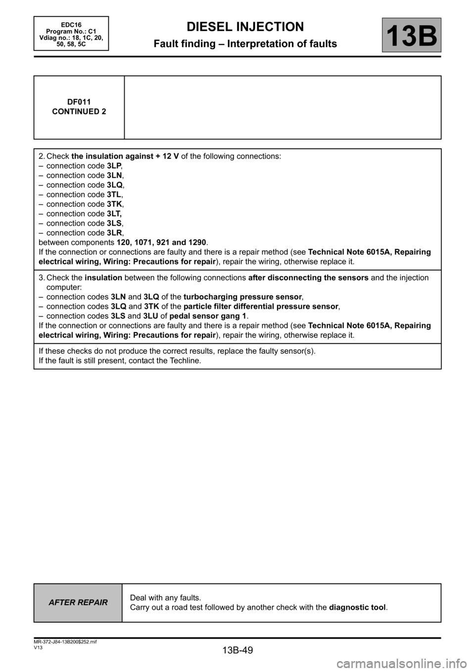 RENAULT SCENIC 2011 J95 / 3.G Engine And Peripherals EDC16 Workshop Manual, Page 49