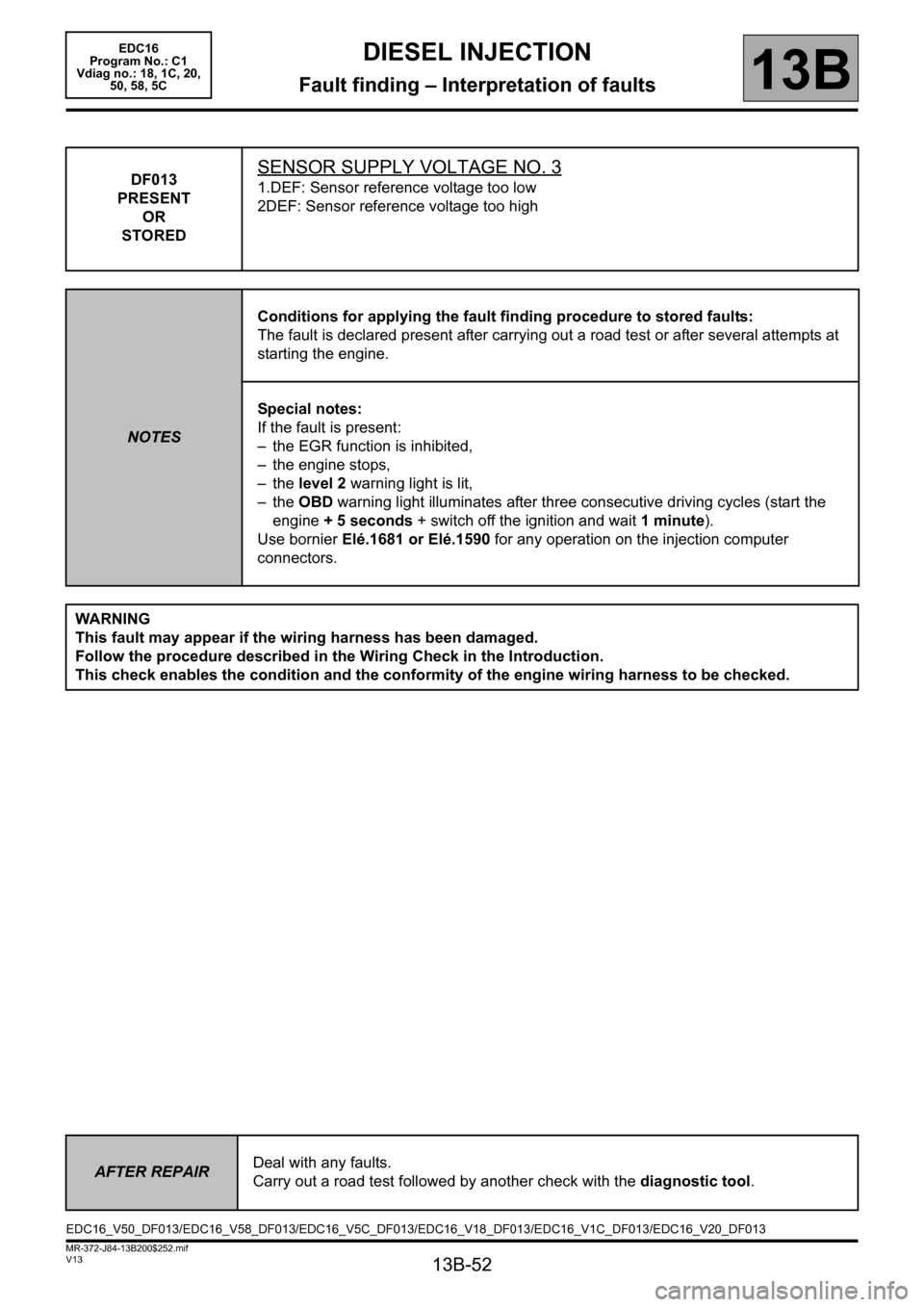 RENAULT SCENIC 2011 J95 / 3.G Engine And Peripherals EDC16 Workshop Manual, Page 52