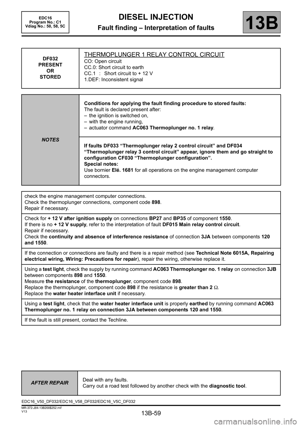 RENAULT SCENIC 2011 J95 / 3.G Engine And Peripherals EDC16 Workshop Manual, Page 59