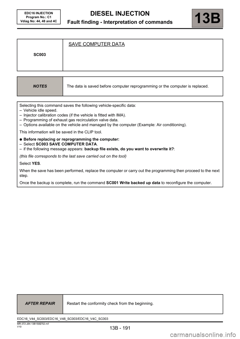 RENAULT SCENIC 2011 J95 / 3.G Engine And Peripherals EDC16 Injection Workshop Manual, Page 191