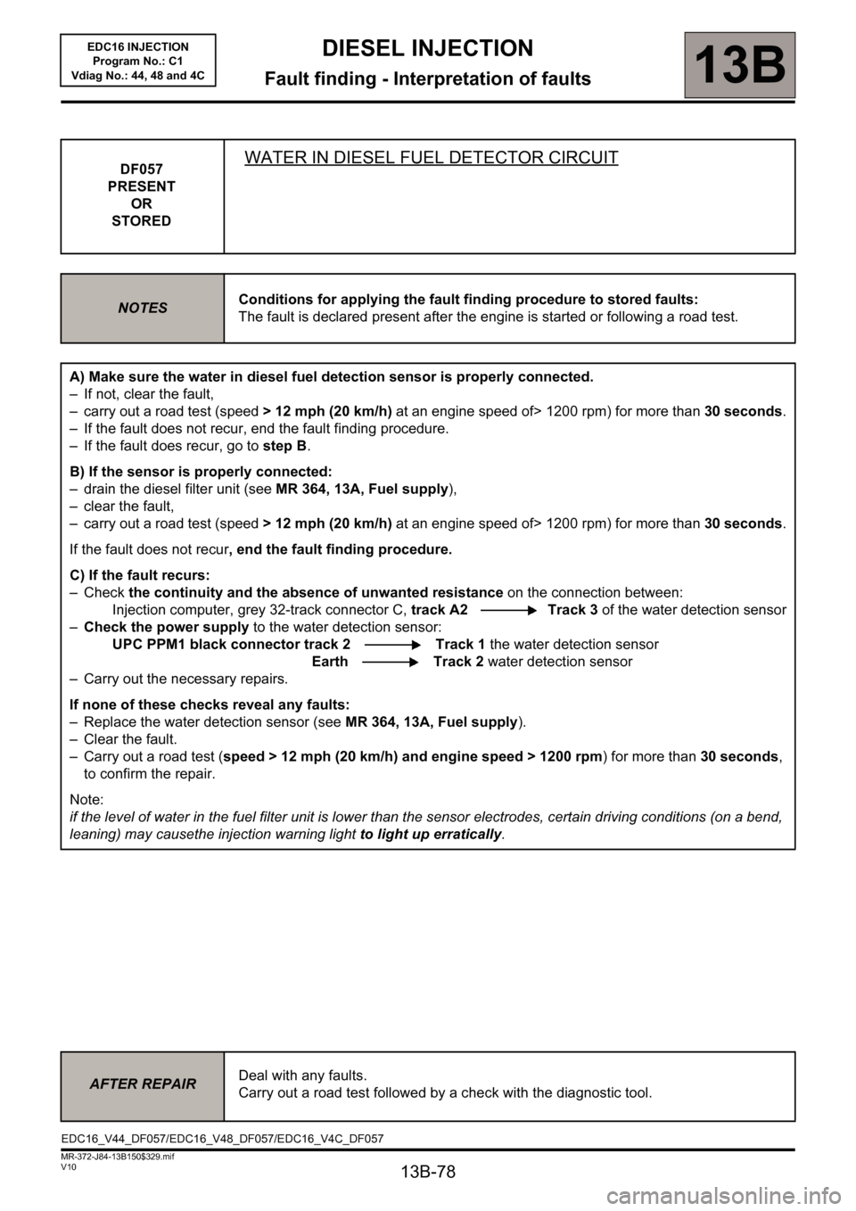 RENAULT SCENIC 2011 J95 / 3.G Engine And Peripherals EDC16 Injection Workshop Manual, Page 78