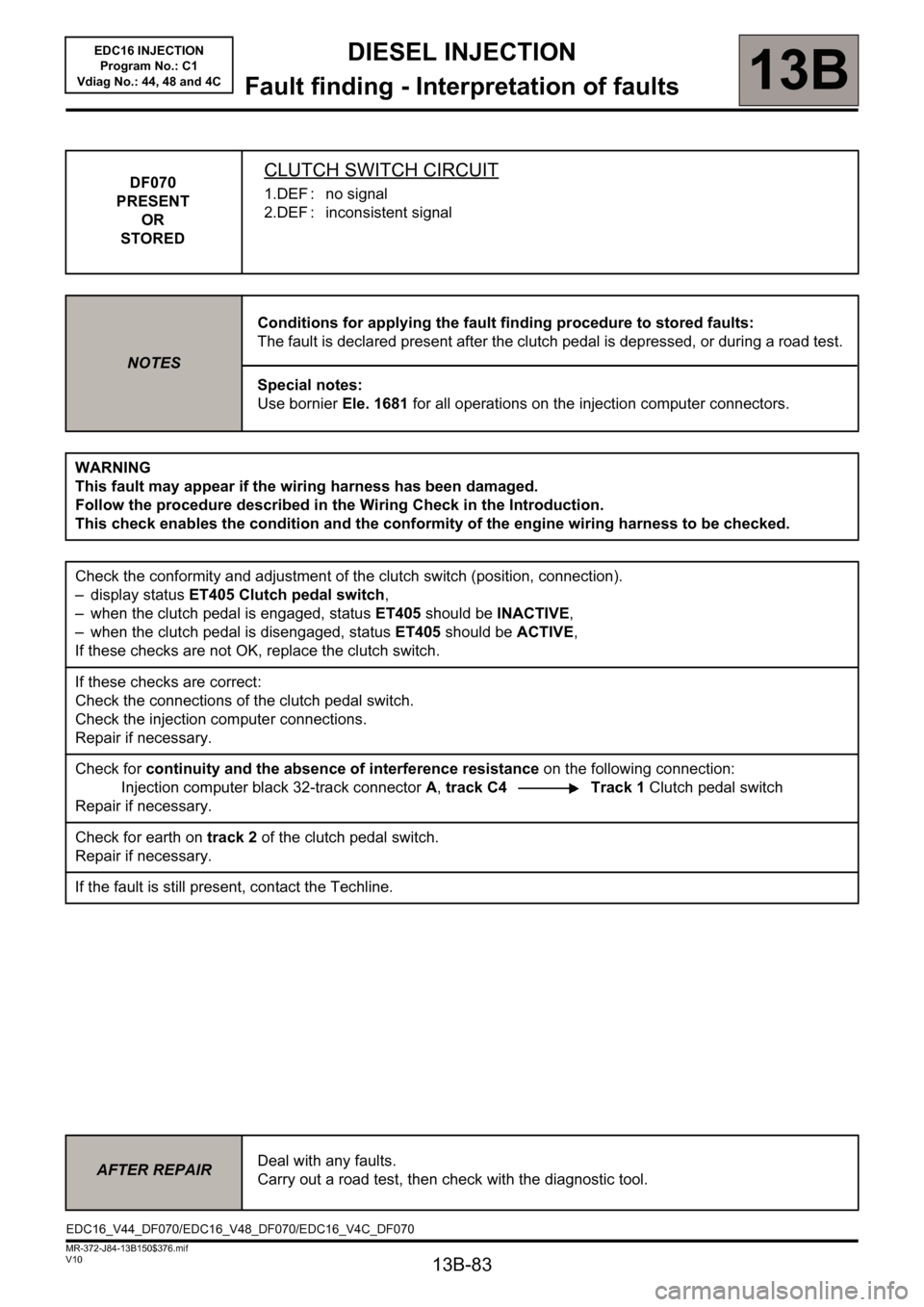 RENAULT SCENIC 2011 J95 / 3.G Engine And Peripherals EDC16 Injection Workshop Manual, Page 83