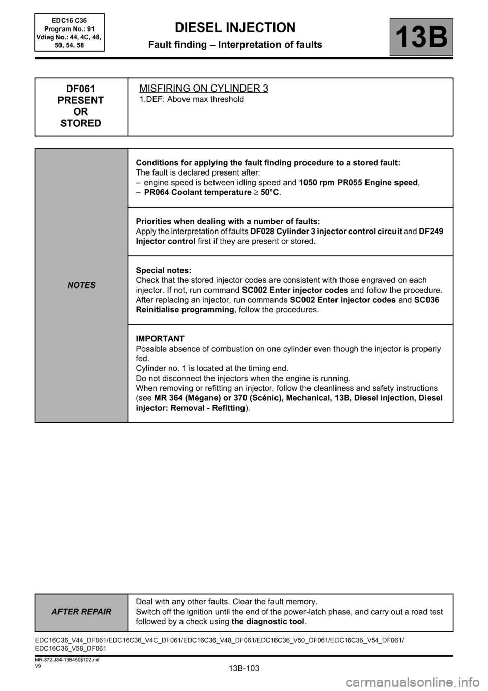 RENAULT SCENIC 2011 J95 / 3.G Engine And Peripherals EDC16C36 Workshop Manual, Page 103