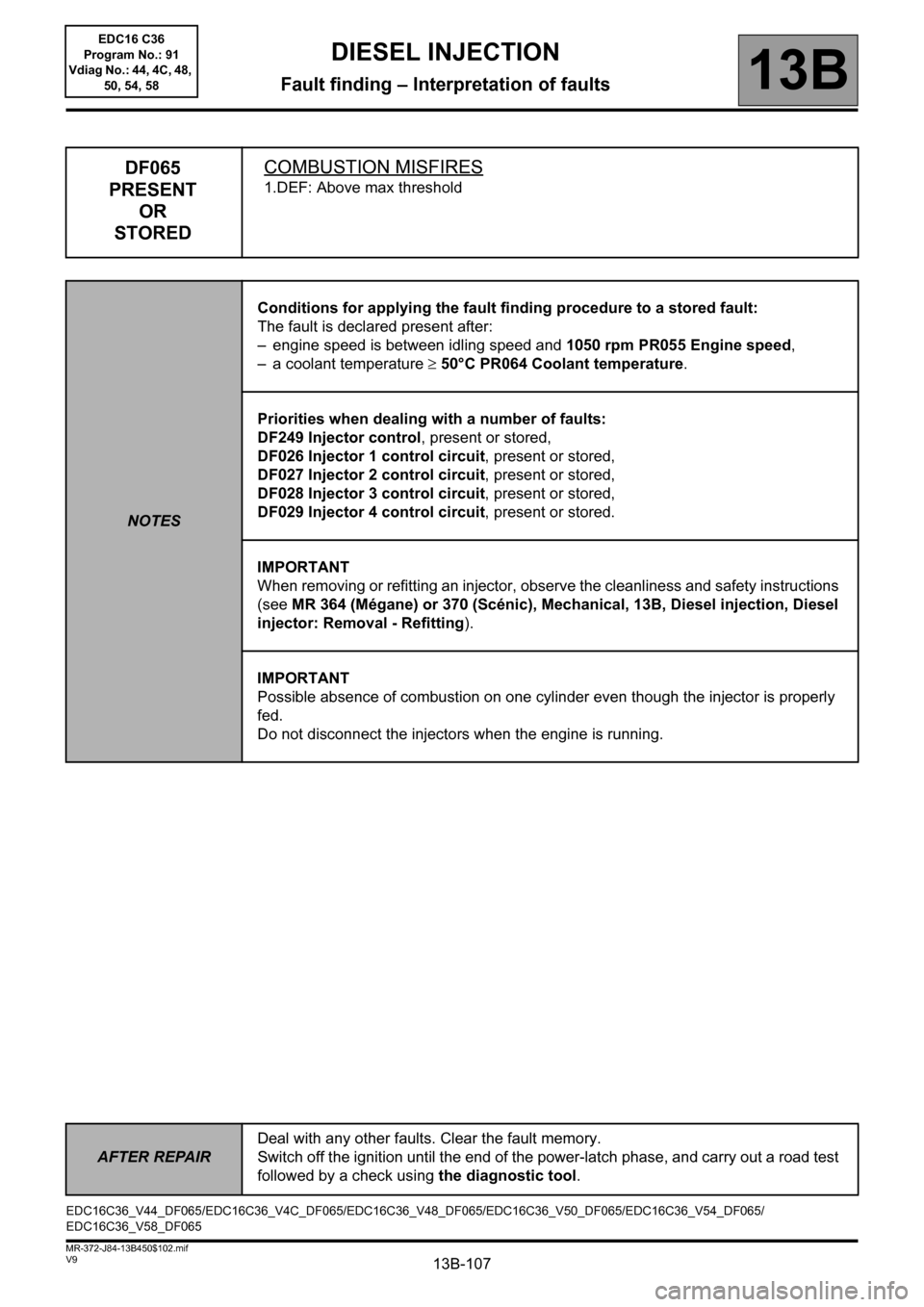RENAULT SCENIC 2011 J95 / 3.G Engine And Peripherals EDC16C36 Workshop Manual, Page 107