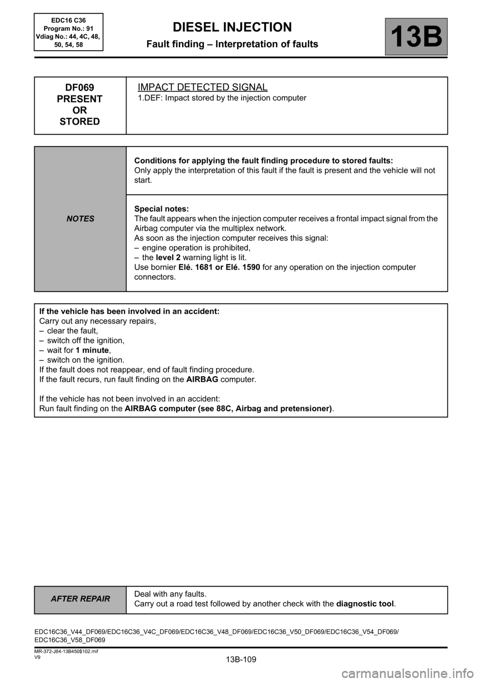 RENAULT SCENIC 2011 J95 / 3.G Engine And Peripherals EDC16C36 Workshop Manual, Page 109