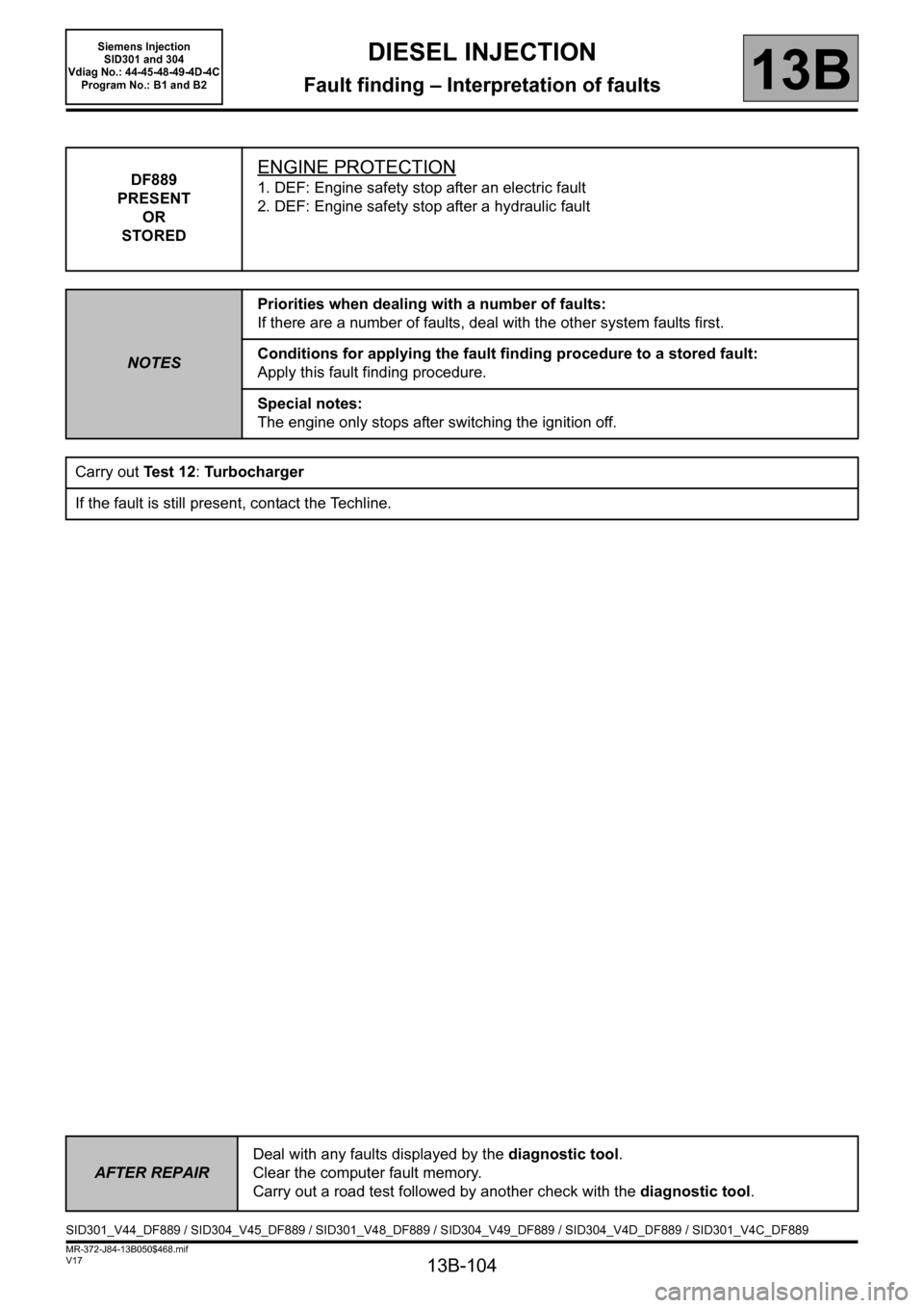 RENAULT SCENIC 2011 J95 / 3.G Engine And Peripherals Siemens Injection Workshop Manual, Page 104