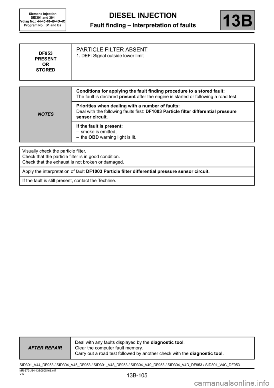 RENAULT SCENIC 2011 J95 / 3.G Engine And Peripherals Siemens Injection Workshop Manual, Page 105