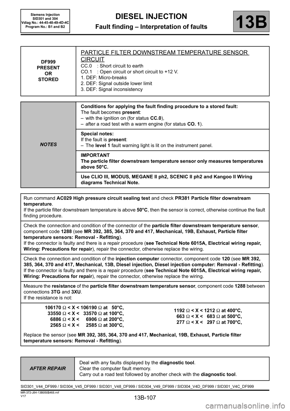 RENAULT SCENIC 2011 J95 / 3.G Engine And Peripherals Siemens Injection Workshop Manual, Page 107